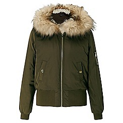Miss Selfridge - Khaki hooded bomber jacket