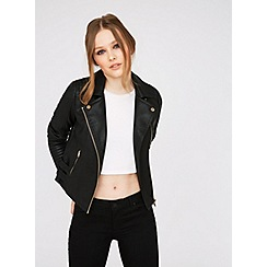 Miss Selfridge - Black faux leather biker