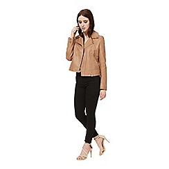 Miss Selfridge - Tan faux leather biker