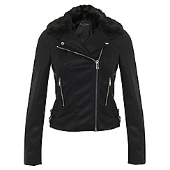 Miss Selfridge - Black faux fur collar biker