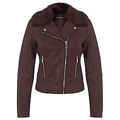 Miss Selfridge - Oxblood ruby faux fur biker