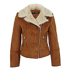 Miss Selfridge - Tan shearling biker