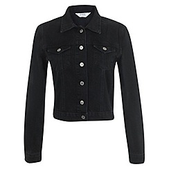 Miss Selfridge - Black distressed denim jacket