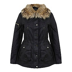 Miss Selfridge - Fur collar wax jkt