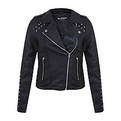 Miss Selfridge - Black lace up pu jkt