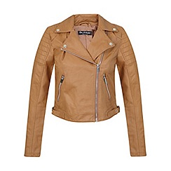 Miss Selfridge - Camel cropped biker jacket