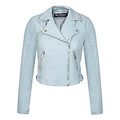 Miss Selfridge - Blue cropped biker jacket