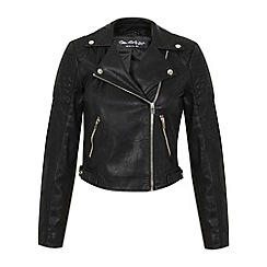 Miss Selfridge - Black cropped biker jacket