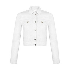 Miss Selfridge - White distressed denim jacket
