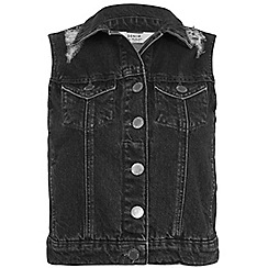 Miss Selfridge - Black distressed denim gilet