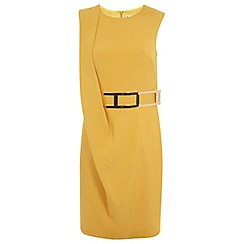 Miss Selfridge - Yellow belted drape dress