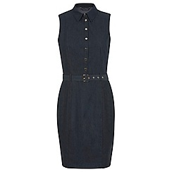Miss Selfridge - Denim look belted button dress