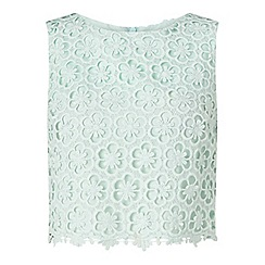 Miss Selfridge - Mint lace overlay shell top