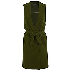Miss Selfridge - Khaki sleeveless jacket