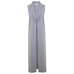 Miss Selfridge - Grey maxi sleeveless jacket
