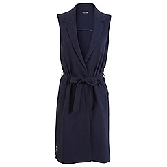 Miss Selfridge - Navy sleeveless belted jacket
