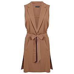 Miss Selfridge - Camel sleeveless jacket
