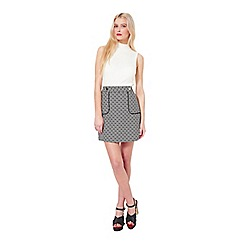 Miss Selfridge - Mono jacquard mini skirt