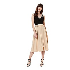 Miss Selfridge - Camel tie waist midi skirt