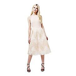 Miss Selfridge - Nude embroidered midi skirt