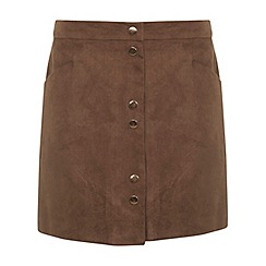 Miss Selfridge - Suedette popper mini skirt