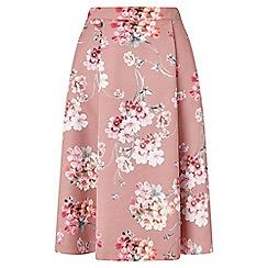 Miss Selfridge - Pink floral print midi skirt