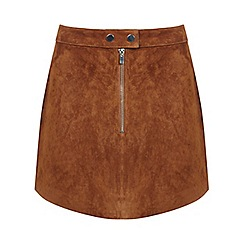 Miss Selfridge - Suede zip front mini skirt