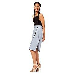 Miss Selfridge - Blue denim look midi skirt