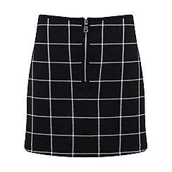 Miss Selfridge - Check zip front mini skirt
