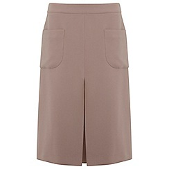 Miss Selfridge - Camel pleat midi skirt