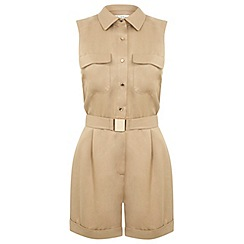 Miss Selfridge - Camel belted utility playsuit