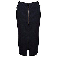 Miss Selfridge - Faux denim zip pencil skirt