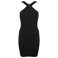 Miss Selfridge - Cross neck black bodycon dress