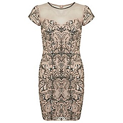 Miss Selfridge - Nude fleur bodycon dress