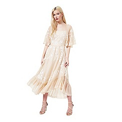 Miss Selfridge - Nude fluted sleeve dress