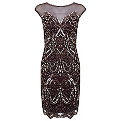 Miss Selfridge - Burgundy lacey bodycon dress