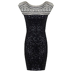 Miss Selfridge - Black beaded yoke dress