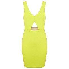 Miss Selfridge - Lime v-neck metal bar dress