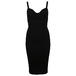 Miss Selfridge - Curved plunge textured bodycon