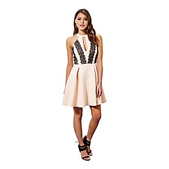 Miss Selfridge - Nude lace skater dress