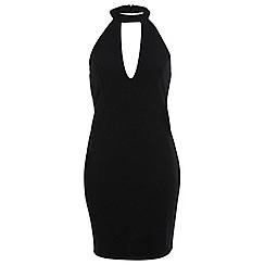 Miss Selfridge - Black rib plunge bodycon dress