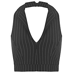 Miss Selfridge - Pinstripe plunge crop top