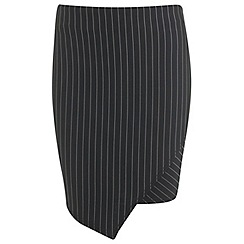 Miss Selfridge - Pinstripe asymetric mini skirt