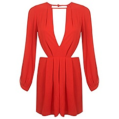 Miss Selfridge - Red plunge playsuit