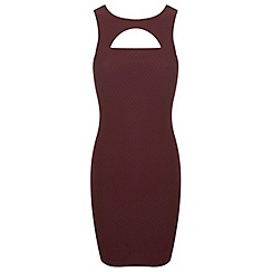 Miss Selfridge - Burgundy cut out bodycon