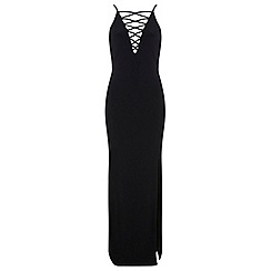 Miss Selfridge - Lace up plunge maxi dress
