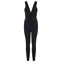 Miss Selfridge - Black plunge jumpsuit