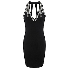 Miss Selfridge - Black plunge bodycon dress
