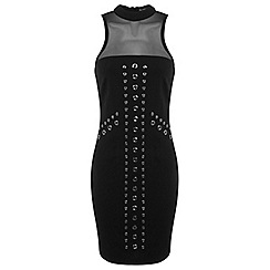 Miss Selfridge - Black mesh bodycon dress