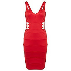 Miss Selfridge - Red bangade gold trim bodycon